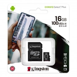 Карта памяти microSDHC 16Gb Kingston, Canvas Select Plus, Class10, UHS-I U1 A1 100Mb/s, с адаптером