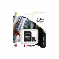 Карта памяти microSDXC 64Gb Kingston, Canvas Select Plus, Class10, UHS-I U1 A1 100Mb/s, с адаптером