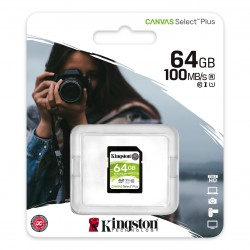 Карта памяти SDXC 64Gb Kingston, Canvas Select Plus, Class10, UHS-I U1 100Mb/s
