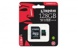 Карта памяти MicroSDXC 128Gb Kingston UHS-3 V30 Canvas Go (+переходник на SD)