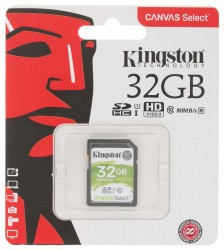 Карта памяти SDHC 32Гб Kingston Cl-10 UHS-1 (80 Mb/s)