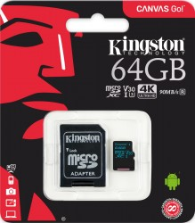 Карта памяти microSDXC 64Gb Kingston, Canvas Go!, Class10, UHS-I U3 90Mb/s, с адаптером