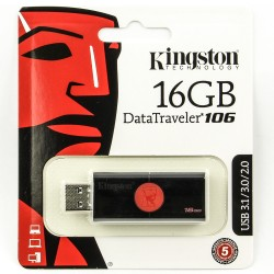Флешка USB KINGSTON DataTraveler DT 106 16Гб, USB3.0, черный (dt106/16gb)