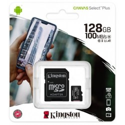 Карта памяти microSDXC 128Gb Kingston, Canvas Select Plus, Class10, UHS-I U1 A1 100Mb/s, с адаптером