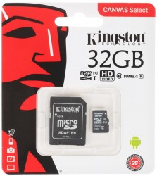Карта памяти MicroSDHC 32Gb Kingston UHS-1 до 80Mb/s с адаптером