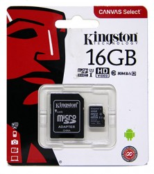 Карта памяти MicroSDHC 16Gb Kingston UHS-1 до 80Mb/s с адаптером